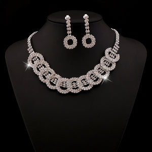 Bridal Jewelry Water Diamond Necklace Earrings Two Pieces Of Factory Direct Sales