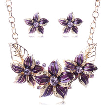 Ornament Wholesale European And American Vogue Flower Dripping Oil Diamond Necklace Set