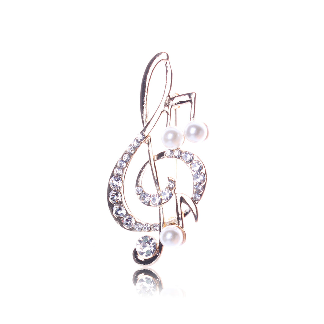 Music Note Design Rhinestone Women Brooches and Pins