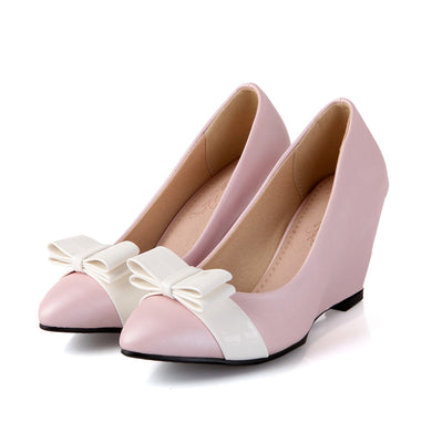 Black/White Bow Candy Color Pump for Women