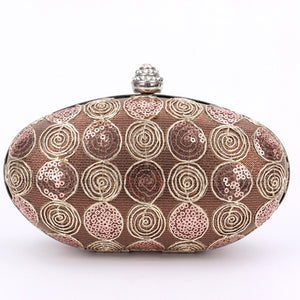 Lace Detailed Oval Evening Bags