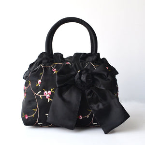 Flowers Embroided Bow on Front Solid Color Satin Handbag