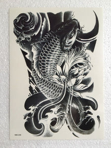 1Sheet Black Fish Men Women Temporary Tatto Waterproof Tattoo Arm Sticker Fake Arm Sleeve Body Tattoo Shoulder Tattoos