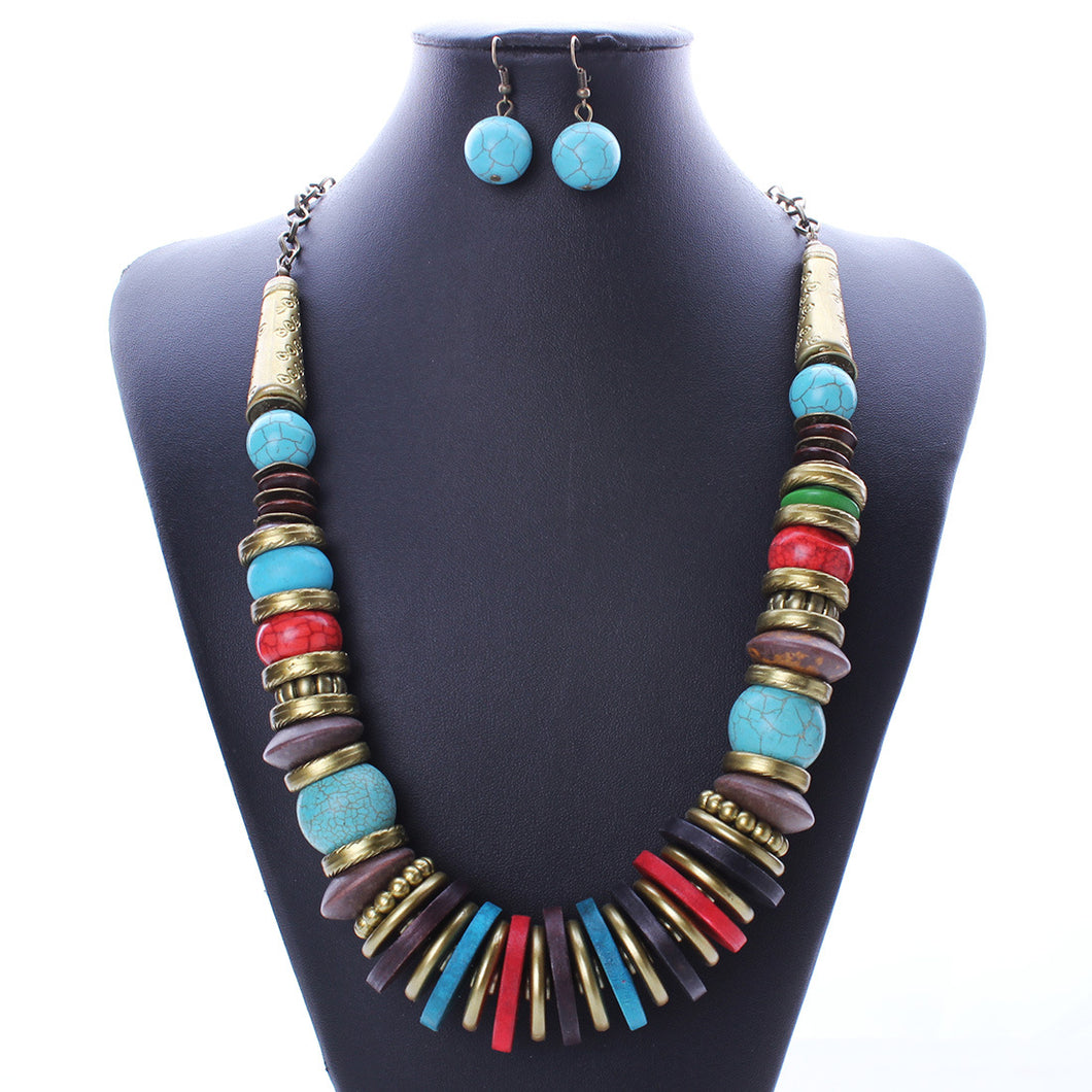 Major Fashion National Wind Turquoise Antique Bronze Necklace Earrings With Three Suits