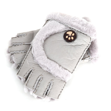 Solid Color Warm Keeping Mittens with Cute Button Cuffs
