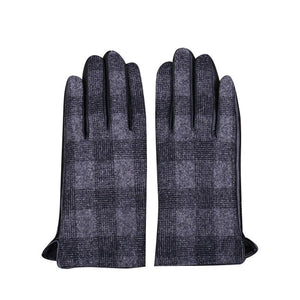 Dark Gray Plaid Check Woolen Gloves (1 pair)