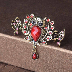 Vintage Grab Clip Crack Imitation Songstone Alloy Water Drill Crab Clip Owl Hairpin Hairpin Hairpin