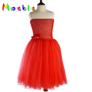 Red Lightweighted Off Shoulder Tulle Dresses Flower Girl Dress Lace