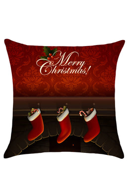Christmas Fireplace Patterned Linen Throw Pillow Case