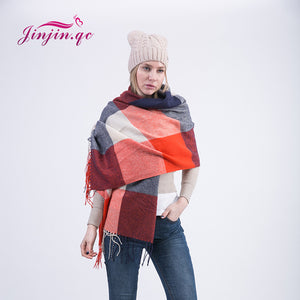 Color Blocks Pattern Synthetic Woolen Scarves