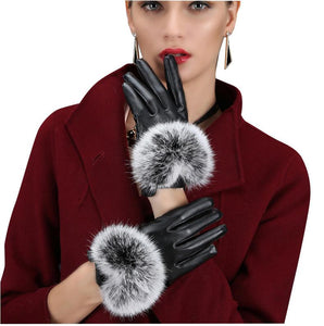 Black PU Leather Gloves Rabbit Fur Cuffs (1 pair)