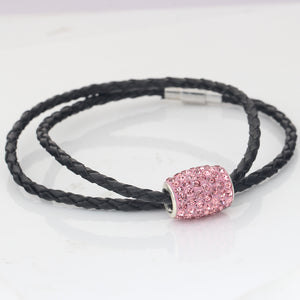 Leather Bracelet with Rhinestone Detailed Buckle