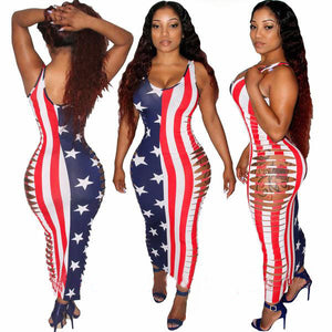 Side Hollow  Sexy Stars and Stripes  Bodycon for Women