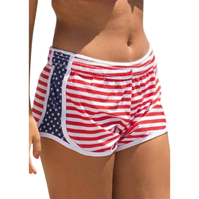 American Stars and Stripes National Flag Pattern Casual Beach Shorts for Women