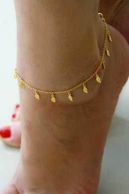 Small And Fresh Leaves Are Simple And Fashionable Tassel Flower Chain For Women Anklet