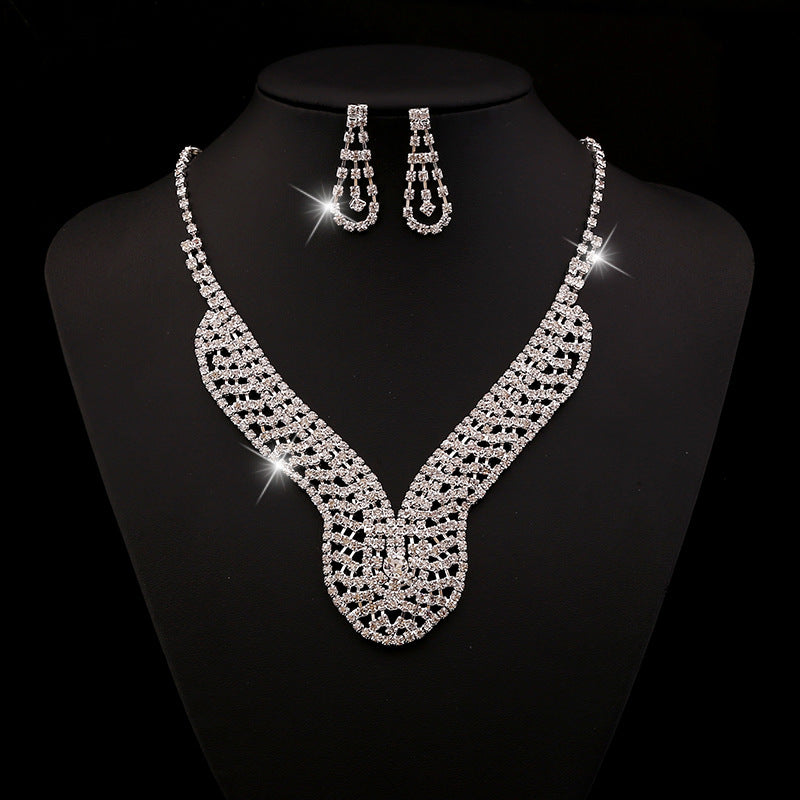 Bridal Jewelry Two Pieces Of Fashionable And Generous Diamond Necklace Manufacturers Direct Sales
