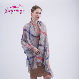 Plaid Check Pattern Voile Women's Scarves