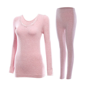 New Thermal Underwear Set Female Seamless Body Round Neck Tight Bottoming Underwear