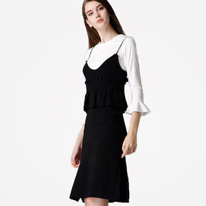 White Bell Sleeves Shirt and Black Spaghetti Straps Suit Dress