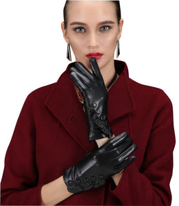 Button Detail Black Gloves Floral Hems Gloves for Women (1 pair)