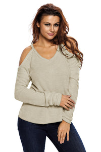 Apricot Cold Shoulder Knit Long Sleeves Sweater