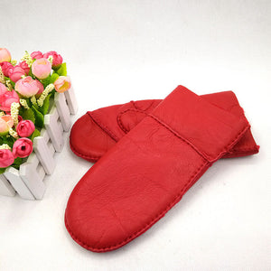 Windproof Solid Color Faux Goatskin Leather Mittens for Women