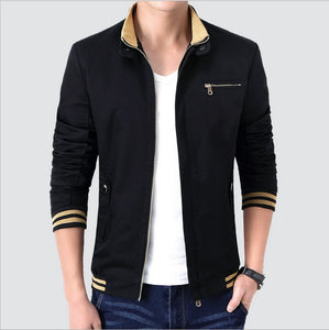 Stand Collar Stripes Detailed Cuffs Men's Autumn Fashion Coat