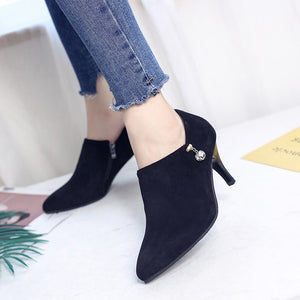 Autumn New Women's Pointed with High-heeled Shoes Suede Side Zipper Diamond Boots Women( 1 pair)