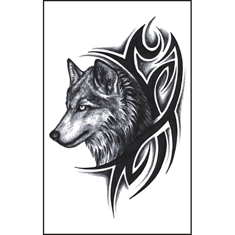Body Art Stickers Removable Waterproof Temporary Tattoos Ink Wolf Head Stickers (1 sheet)