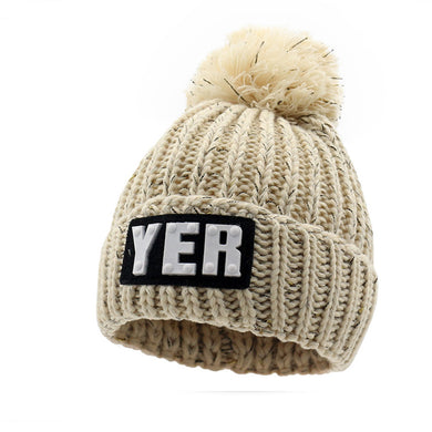 Thickening Labeling Letter YER Solid Color Kitted Wool Hat
