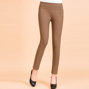 High Waist Stretchy Long Shift Pants for Women