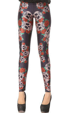 Halloween Festive Skull Pattern Long Stretchy Leggings for Women