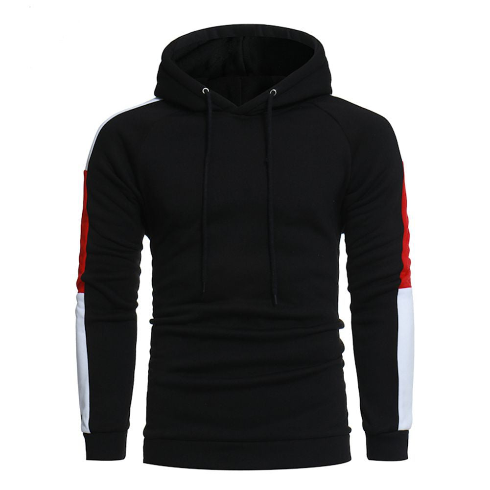 Color Blocks Sleeves Solid Color Casual Hoodies for Men