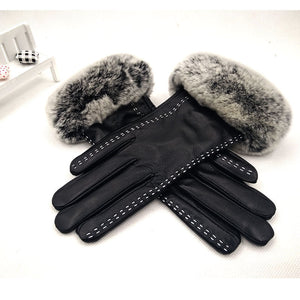 Genuine Goatskin Leather Rabbit Fur Cuffs Gloves