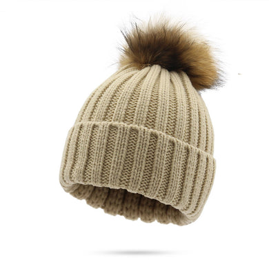 Women's Thicken  Warm Raccoon Large Fox Fur Ball Wool Knitted Hat