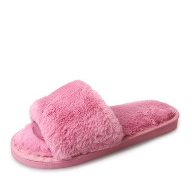 New Female  Autumn and Winter Suede Rabbit Hair Home Cotton Round Flat Bottom Exposed Toe Slippers