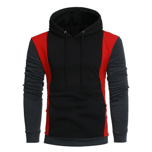 Black and Red Color Blocks Casual Hoodies for Men