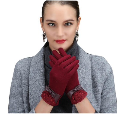 Women Flannel Gloves Warm Keeping Single Color (1 pair)