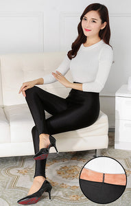 Tight Fitting Velour Lining Winter Leggings for Women
