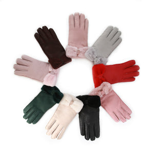 Solid Color Synthetic Leather Bow Design Cuffs Gloves for Women