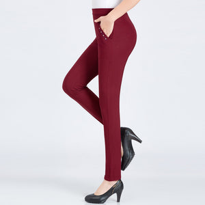 High Elastic Stretchy Solid Color Casual Pants for Women