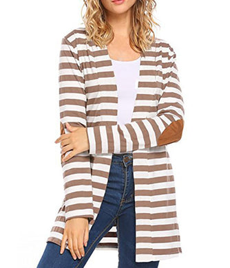 New Fashion Autumn Outerwear Women Long Sleeve Striped Printed Cardigan Casual Elbow Patchwork Knitted Sweater