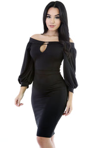 Black Puffs Peep Hole Off Shoulder Midi Bodycon Dress