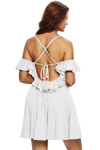 Sweet Sexy White Backless Skater Dress