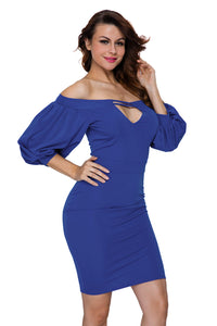 Blue Puffs Peep Hole Off Shoulder Midi Bodycon Dress