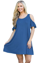 Blue Naughty Cute Cold Shoulder Short Dress