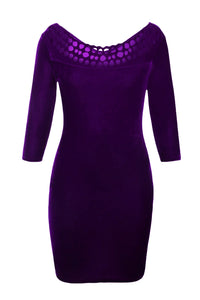Purple Hollow Out Round Neck Sleeved Velvet Dress