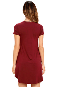 Burgundy Trendy Sweetheart Neck Pocket Shirt Dress