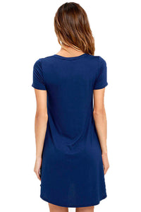 Blue Trendy Sweetheart Neck Pocket Shirt Dress