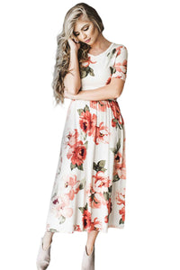 Casual Pocket Design White Floral Dress